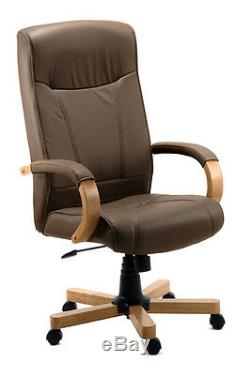 Richmond Luxury Brown Leather Executive Office Chair by Teknik Free Delivery