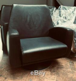 Rossi di Albizzate Ovio swivel executive armchair. Black leather polished steel