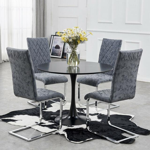 Round Dining Table And 4 Chairs Distressed Faux Leather Steel Blue Chair Office
