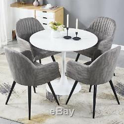 Round Dining Table and 4 Dining Chairs Set Faux Leather Armchair Kitchen Office