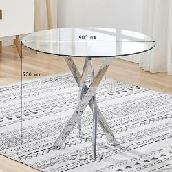 Round Glass Dining Table Set & 2/4 Faux Leather Chairs Kitchen Office Furniture