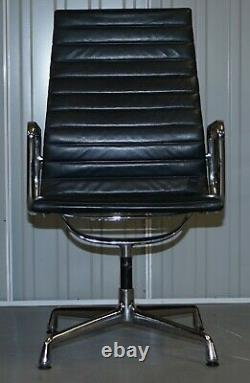 Rrp £34,000 1 Of 10 Vitra Eames Herman Miller Black Leather Swivel Office Chairs