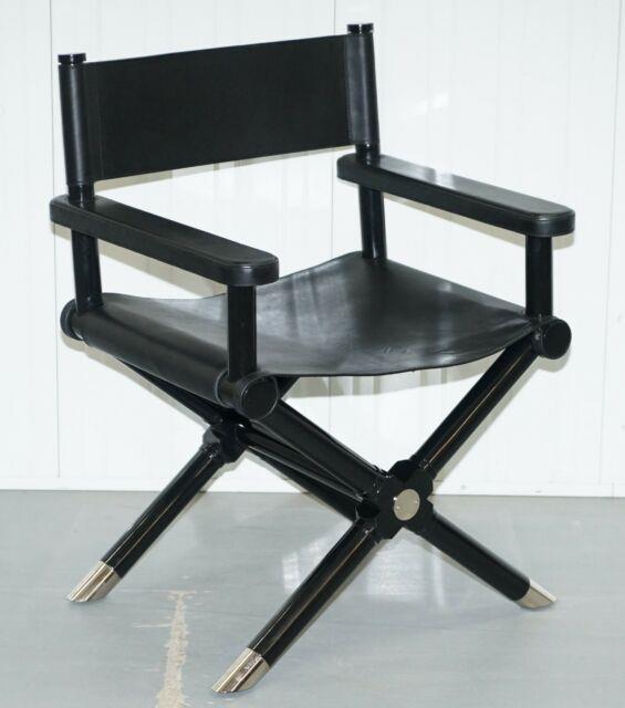 Rrp £5500 Ralph Lauren Holbrook Director's Armchair Black Leather Office Desk
