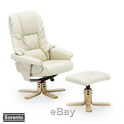 SORENTO REAL LEATHER CREAM SWIVEL RECLINER CHAIR w FOOT STOOL ARMCHAIR OFFICE