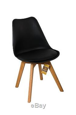 Set Of 2 Padded Designer Dining Chair/Office Chair with Solid Oak Legs-CH046BK