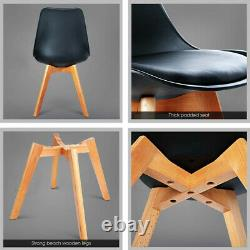 Set of 2/4 Dining Chair Tulip Chairs Wooden Legs Office Kitchen And Padded Seat