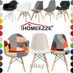 Set of 2 4 Eiffel Style Dining Chairs Armchair Solid Wooden Legs Office Chair UK