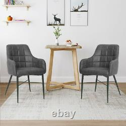 Set of 2 Dining Chairs Faux Leather Padded Metal Legs Reception Accent Armchair