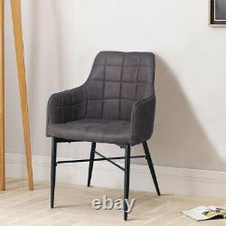 Set of 2 Dining Chairs Grey with Arms Metal Legs Industrial Design Home Office