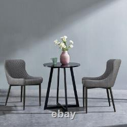 Set of 2 Dining Chairs PU Faux Leather Fabric Velvet Cover Metal Legs Restaurant