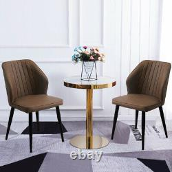 Set of 2 Faux Leather Dining Chairs PU Padded Metal Leg Restaurant Accent Chair