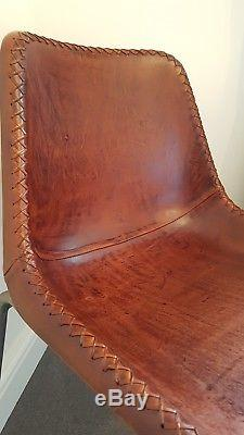 Set of 2 Industrial Style Leather Dining Chairs Vintage Brown Bucket Office Tub