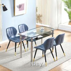 Set of 2 PU Leather Dining Chairs Lounge Padded Dining Room Kitchen Office Chair