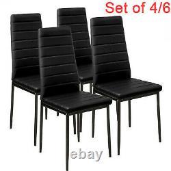 Set of 4/6 Black Dining Chairs Set Padded Seat Metal Legs Kitchen Home Furniture