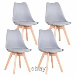 Set of 4 Dining Chair Tulip Chairs Wooden Legs Office Kitchen Padded Seat Grey
