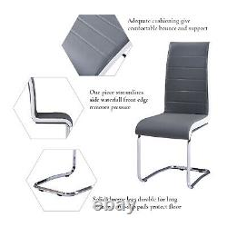 Set of 4 Dining Chairs Grey Leather Seat Modern Furniture Home Kitchen Office