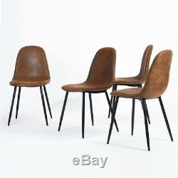 Set Of 4 Suede Brown Padd Seat Living Room Dining Home ...