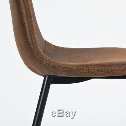Set of 4 Suede Brown Padd Seat Living Room Dining Home Office Lounge Chairs Set