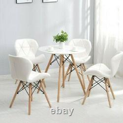 Set of 4 White Eiffel Dining Chairs Wooden Legs Leather Padded Seat Home Office