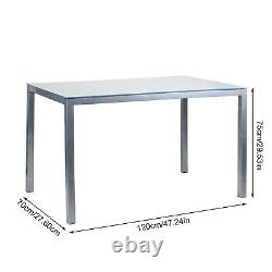 Set of 5 Dining Table+4 Grey Chairs Glass Table& PU Chair Home Office Furniture