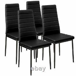 Set of 6 Black Dining Chairs Set Padded Seat Metal Legs Kitchen Home Furniture N