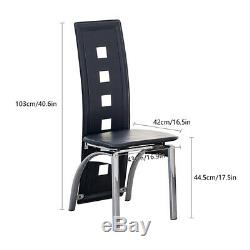 Set of 6 Dining Chairs Faux Leather Chrome Legs Black Home Office Dinning Room