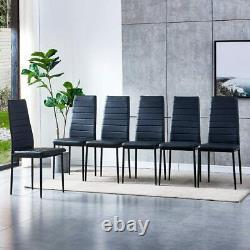 Set of 6 Dining Chairs Set Padded Seat Metal Legs Kitchen Home Furniture Black
