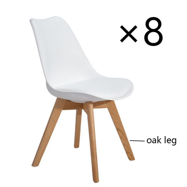 Set Of 8 Eggree Tulip Dining Chairs Office Chair Soft Pad + Solid Wood Oak Legs