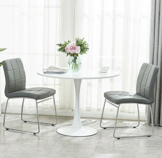 Set Of Dining Table And 2 Chairs Round Top Faux Leather Sled Base Kitchen Office