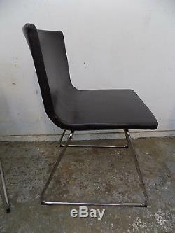 Six, vintage, 1970's, style, leather, chairs, chrome legs, dining chairs, office chairs