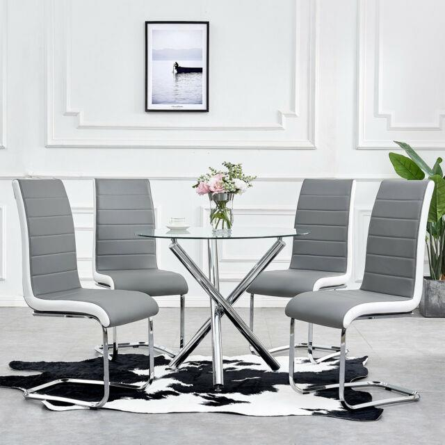 Small Glass Round Dining Table Set & 2/4 Faux Leather Chairs Kitchen Office Set