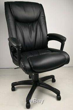 Soft Padded Executive Office Chair in Black or Brown Leather Swivel Boss Chair