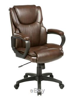 Soft Padded Low Back Executive Office Chair in Black or Brown Leather Swivel