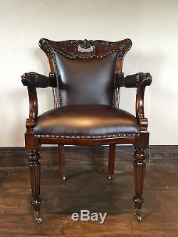Solid Mahogany Quality Brown Leather Arm Chairs Office Chair Bronzed Casters