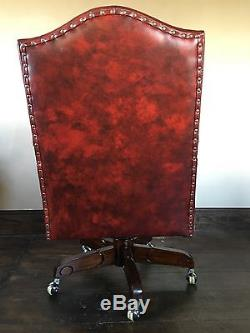 Solid Mahogany Red Leather Recline Swivel Arm Chairs Office Chair Chrome Casters