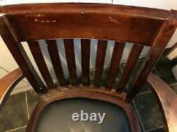 Solid Red Wood Leather Captain's Swivel Office Chair Chesterfield Mahogany Desk