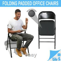 Strong Metal Chair Frame Faux Leather Padded Folding Office Computer Chair