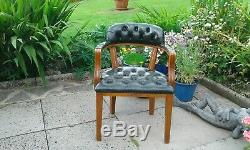 Stunning Chesterfield Chair Captains Admirals Court Green Leather Study Office