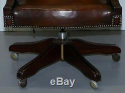 Stunning Vintage 1960's Fully Restored Aged Brown Leather Directors Office Chair