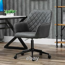 Swivel Argyle Office Chair Leather-Feel Fabric Home Study Leisure with Wheels