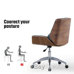 Swivel Leather Office Chair Racing Gaming Chair Recliner Adjustable Walnut Wood