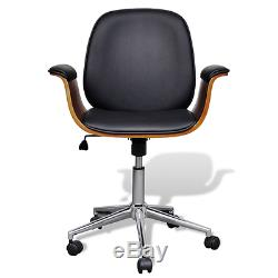 Swivel Office Chair Adjustable Economic Living Room Home Office Study BrownBlack