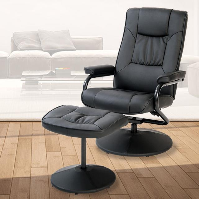 Swivel Recline Chair With Footstool Reclining Armchair Home Office Life Carver
