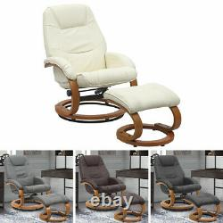 Swivel Recliner Armchair with Footstool Home Office Lounge Chair Relax TV Chair