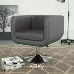 Swivel Tub Chair Grey Faux Leather Cube Chair Lounge Office Salon Armchair Seat