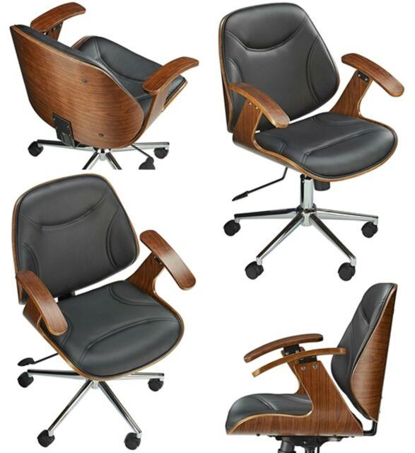 Swivel Vintage Chair Retro Style Leather Computer Pc Desk Seat Wood Armchair New