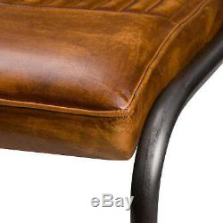 Tan Antique Brown Leather Ribbed Billy Dining Kitchen Office Chair (h20381)