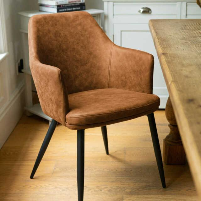 Tan Brown Leather Carver Dining Kitchen Office Chair Metal Legs (h20043)