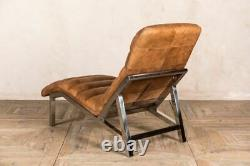 Tan Coloured Full Leather Chaise Longue With Chrome Ideal For Offices Man-cave