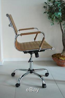 Tan Designer Ribbed Director Chair Computer Office Swivel